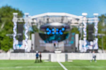 Blurred image of the stage before the open air concert.