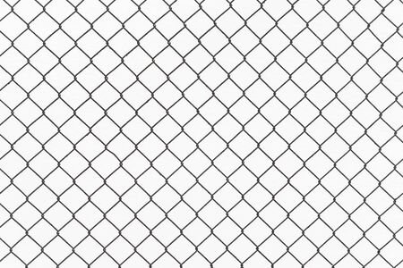 Seamless chain link fence on snow background.