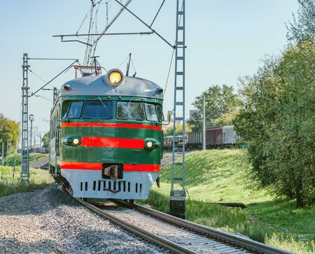 Retro passenger train moves from Moscow to Mytischi. Russia.