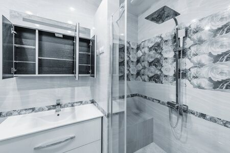 Bathroom interior with sink and shower stall.