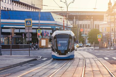 Modern tramway on the central town street. Moscow. Russia,
