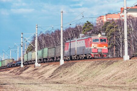 Freight train moves by the spring forest.