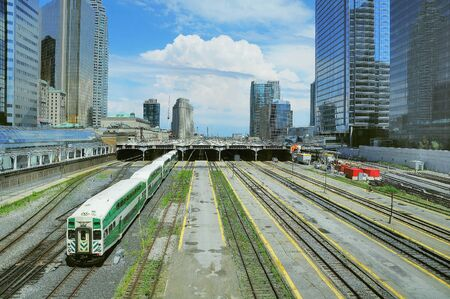 Passenger diesel train departs from Toronto Union station. Canada.