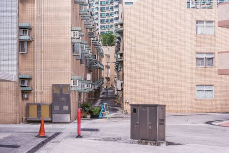 Street by the apartment houses. Hong Kong. China.