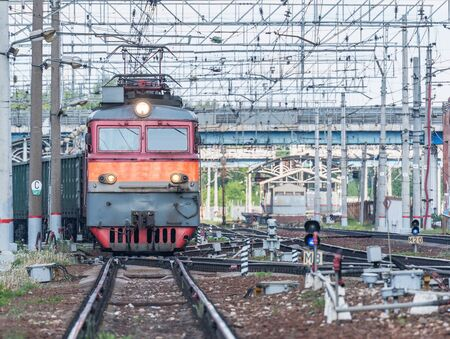 Freight train arrives to the station. Russia.