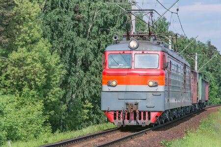 Freight train moves. Reklamní fotografie