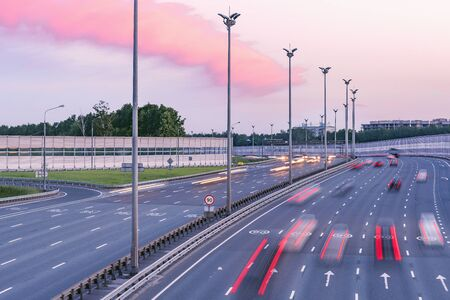 View of the modern highway at sunset time.