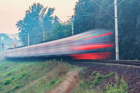 Blurred image of the passenger train.