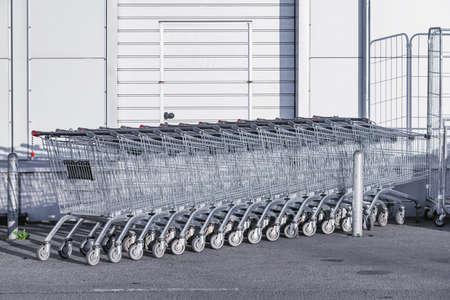 Shopping carts on the street. 免版税图像
