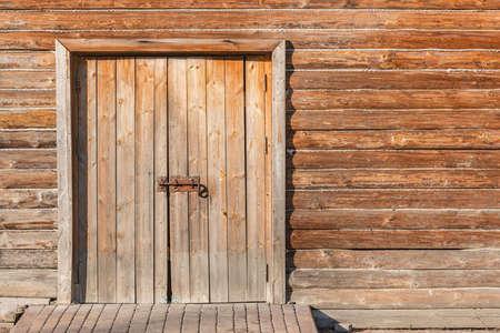 Door of the old wooden house.