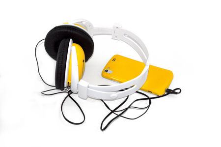 mobile phone with headphones photo