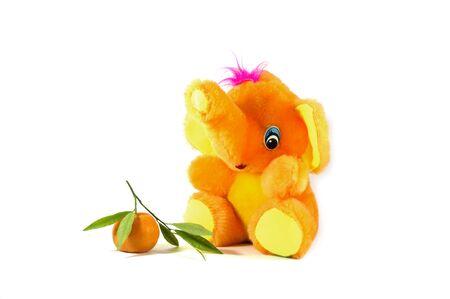 toy elephant: bright orange toy elephant and tangerine