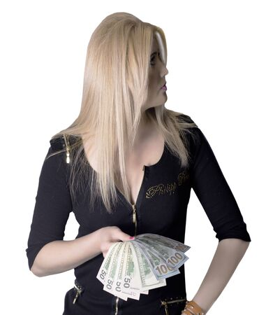 The woman in black with the opened money in hands