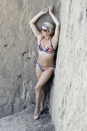 the beautiful woman in rocks Stock Photo