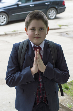 beginning school year: the school student has come from school, a subject education and children