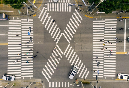 Aerial view a crosswalks Stock Photo