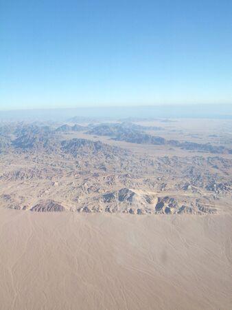 sinai desert: view to sinai desert and mountains from plane Stock Photo
