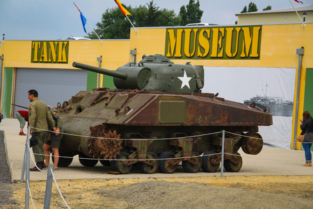 Sherman. American tank that participated in the Second World War on display in Normandy, France. Редакционное