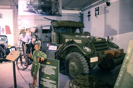 Normandy, France; 4 June 2014: Normandy, France; 4 June 2014: Vintage U.S. army WWII half-truck on display Redactioneel