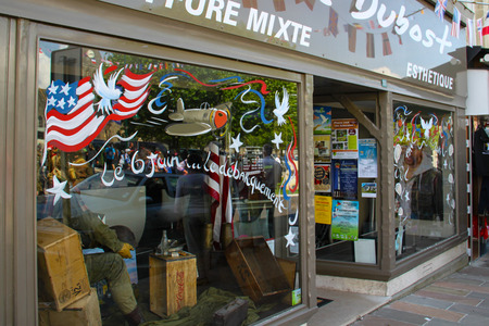 Shop window decorated in Normandy at the time of the anniversary of the landing