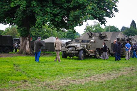 Normandy, France; 4 June 2014: Normandy, France; 4 June 2014: Vintage U.S. army WWII truck on display