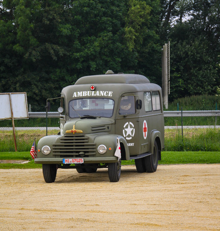 Colleville sur mer, Normandy, 4th June 2014: ambulance military attending to celebrations for 70th anniversary of D-day Redactioneel