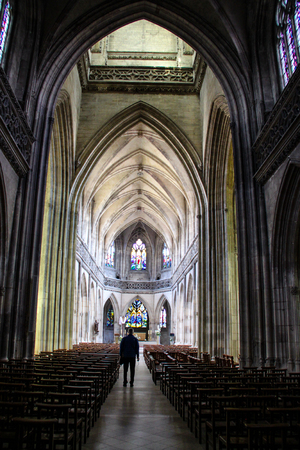 Caen, France; 4 June 2018: Caen Cathedral. View of the central hall