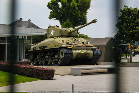 Sherman. American tank that participated in the Second World War on display in Normandy, France. Redactioneel