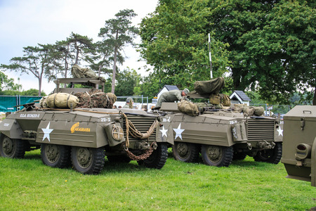 Normandy, 4th June 2014: military vehicles Ford M8 attending to celebrations for 70th anniversary of D-day Redactioneel