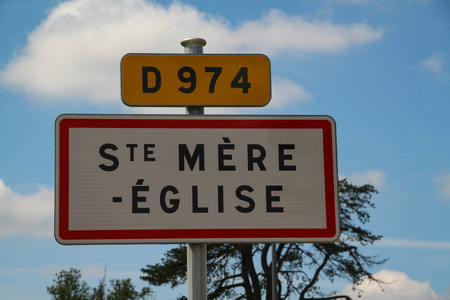 Sainte Mere Eglise. road sign of the city