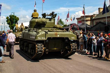 Normandy, France; 4 June 2014: Normandy, France; 4 June 2014: Vintage U.S. army WWII Sherman tank on display