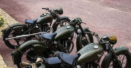 Normandy, France; 4 June 2014: Vintage U.S. army WWII motorcycles on display Redactioneel