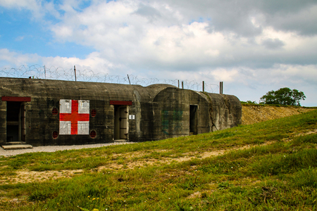 Normandy, France; 4 June 2014: Azeville battery. Placement of German batteries red cross during the Second World War in Normandy, France. Redactioneel