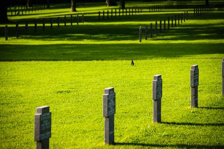 Orglandes,Normandy, France; 4 June 2014: Orglandes Cemetery. German cemetery in Normandy for German combatants during the Second World War.