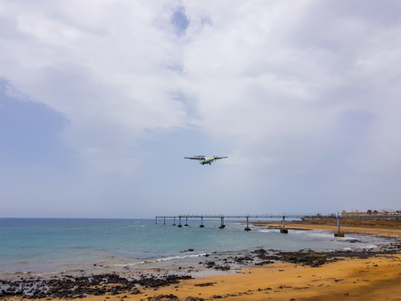 Arrecife airport on the island of Lanzarote, Canary Islands. Spain Image of the sea, beach and panel of lights of indication