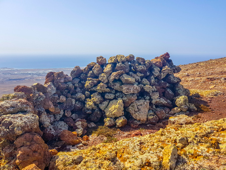 Volcanic stone walls. Built to protect from the strong wind on the island of Lanzarote, Canary Islands. Spain Stockfoto - 122849823