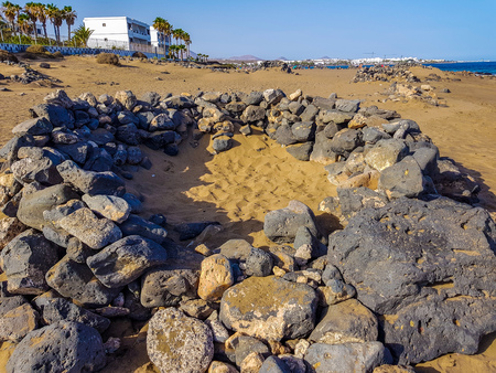 Volcanic stone walls. Built to protect from the strong wind on the island of Lanzarote, Canary Islands. Spain