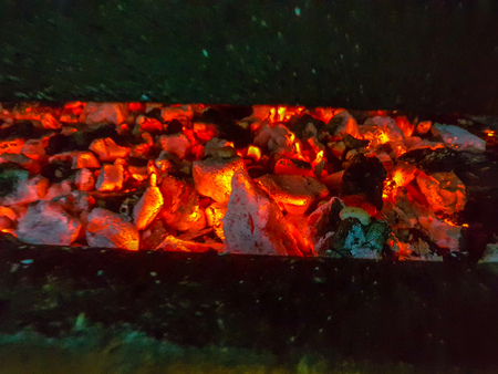Details of charcoal for barbecue at picnic Stock Photo