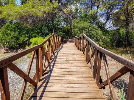 Bridge built with logs in the interpretation center of the Albufera de Valencia and the lagoon that can be visited next to the path between nature Stockfoto