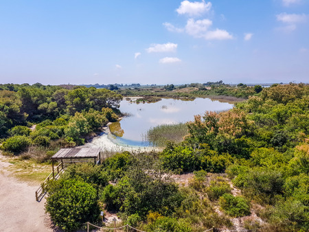 center of interpretation of the Albufera of Valencia and the lagoon that can be visited next to the way between the nature