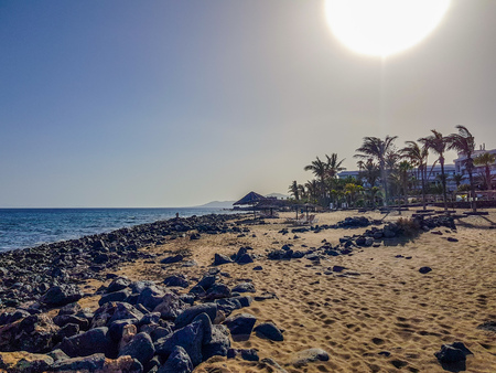 Los Pocillos beach at sunset. Lanzarote, Canary Islands, Spain