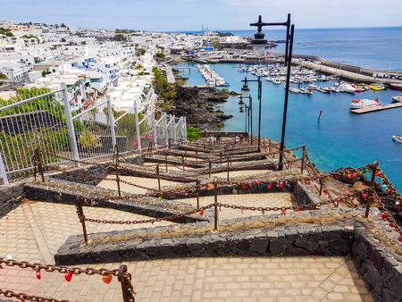 Stairs in zig zag of the street of the Greens in Puerto del Carmen, Lanzarte. Spain
