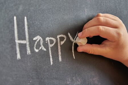 Graphical representation of the word, happy, written with chalk on blackboard