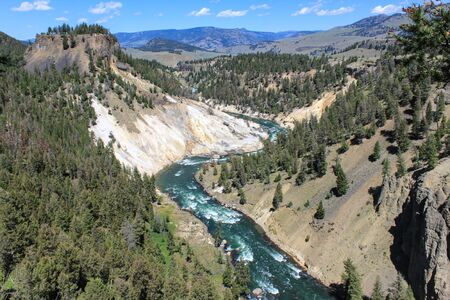 Yellowstone River landscape in Yellowstone National Park Stockfoto