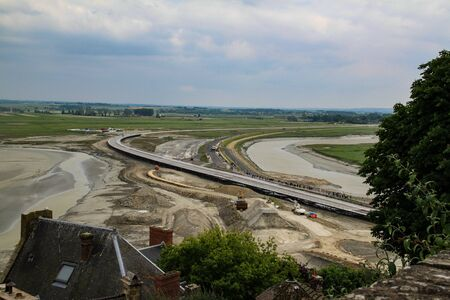 Construction of the road that connects the island of Mont Saint Michel with the mainland