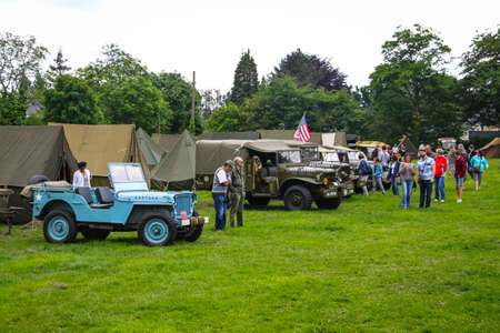 Normandy, France; 4 June 2014: Normandy, France; 4 June 2014: Vintage U.S. army WWII truck on display