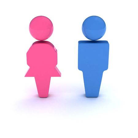 human gender: Men and Women symbol. A 3d symbol of a couple (Bathroom signs, Heteroual couple, Gender, etc).