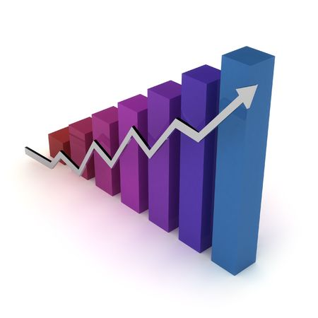uptrend: Chart (going up). A bars graph, with an arrow going up. Isolated over white, with a soft shadow.