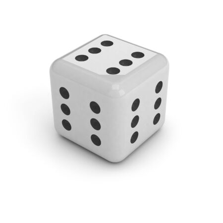 Dice with six in every face. A black and white dice, isolated over a white background. It has six dots on every face, meaning that you cant loose.