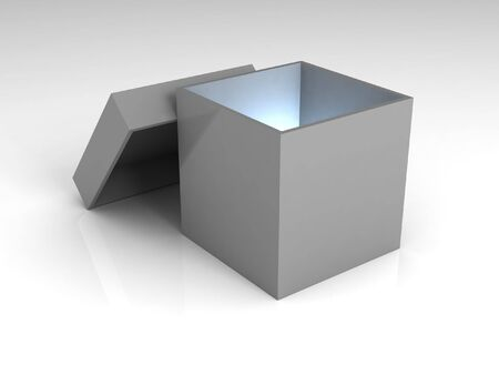 intriguing: Mystery box (white version). A gray opened box, with a blue light inside of it.